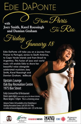 From Paris to Rio: Edie DaPonte, Joey Smith, Karel Roessingh, Damian Graham @ Upstairs Lounge - Oak Bay Recreation Centre Jan 18 2019 - Jun 16th @ Upstairs Lounge - Oak Bay Recreation Centre