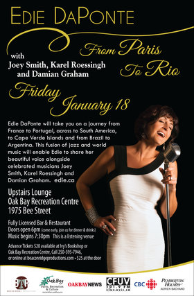 From Paris to Rio: Edie DaPonte, Joey Smith, Karel Roessingh, Damian Graham @ Upstairs Lounge - Oak Bay Recreation Centre Jan 18 2019 - Jan 19th @ Upstairs Lounge - Oak Bay Recreation Centre
