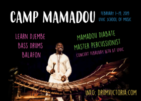 African drumming Camp with Mamadou Diabate @ UVic School of Music - MacLaurin B016 Feb 1 2019 - Jun 19th @ UVic School of Music - MacLaurin B016