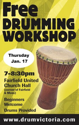 FREE DRUMMING WORKSHOP @ Fairfield United Church Jan 17 2019 - Jan 19th @ Fairfield United Church