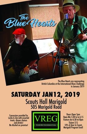 The Blue Hearts: The Blue Hearts @ Marigold Boy Scout Hall Jan 12 2019 - Jan 18th @ Marigold Boy Scout Hall