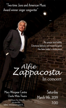 Alfie Zappacosta in Concert @ The Mary Winspear Centre Mar 9 2019 - Mar 19th @ The Mary Winspear Centre