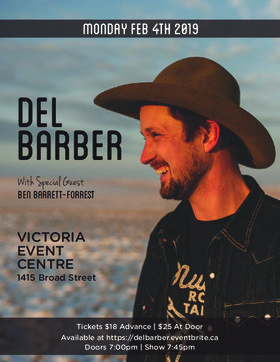 Del Barber live in Victoria, BC: Del Barber, Ben Barrett-Forrest @ Victoria Event Centre Feb 4 2019 - Jun 19th @ Victoria Event Centre