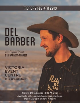 Del Barber @ Victoria Event Centre Feb 4 2019 - Feb 21st @ Victoria Event Centre
