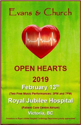 OPEN HEARTS 2019: Evans & Church @ Royal Jubilee Hospital  (Patient Care Centre Atrium) Feb 13 2019 - Feb 22nd @ Royal Jubilee Hospital  (Patient Care Centre Atrium)