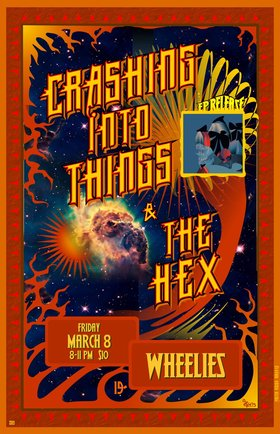 EP Release Party!: Crashing Into Things, The Hex @ Wheelies Motorcyles Mar 8 2019 - May 24th @ Wheelies Motorcyles
