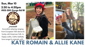 Whimsical Accordionists: Kate Romain, Allie Kane @ Gorge-ous Coffee Mar 10 2019 - Mar 19th @ Gorge-ous Coffee