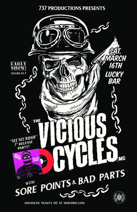 Vicious Cycles MC, Sore Points, Bad Parts @ Lucky Bar Mar 16 2019 - Mar 19th @ Lucky Bar