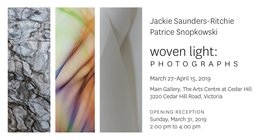 Jackie Saunders-Ritchie & Patrice Snopkowski  Woven Light: Photographs: Jackie Saunders-Ritchie, Patrice Snopkowski @ Art Centre at Cedar Hill - CACGV Main Gallery Mar 27 2019 - Jul 23rd @ Art Centre at Cedar Hill - CACGV Main Gallery
