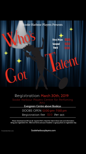 'Who's Got Talent' Registration Day @ Evergreen Centre Sooke Mar 30 2019 - Jul 23rd @ Evergreen Centre Sooke