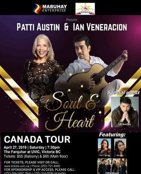 Soul and Heart Canada Tour: Patti Austin, Ian Veneracion, LA Santos, Fifth Street, Thia and Geralyn @ The Farquhar @ UVic Apr 27 2019 - Aug 25th @ The Farquhar @ UVic