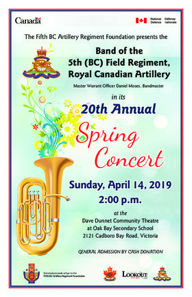 Free military band concert: Band of the 5th  Field Regiment, Royal Canadian Artillery (BC) @ Dave Dunnet Theatre Apr 14 2019 - Apr 19th @ Dave Dunnet Theatre