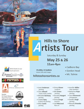 Hills to Shore Artists Studio Tour: Janet Anderson, Clare Attwell, Michelle Barkway, Colette Baty, Allan Castle, Ginny Glover, Niki Green, Dorothy Haegert, Sonia Lesage, Judi MacLeod, Jennifer Miller , Katharine Pope, Carol Sherwood , Sandhu Singh, Marcela Strasdas @ various locations May 25 2019 - May 27th @ various locations