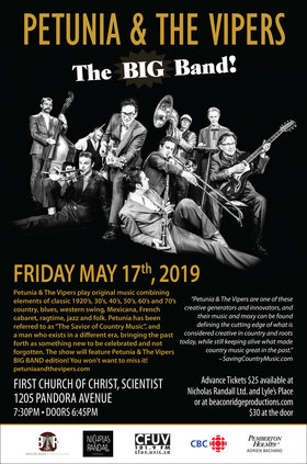 Petunia and the Vipers @ First Church of Christ Scientist May 17 2019 - May 19th @ First Church of Christ Scientist