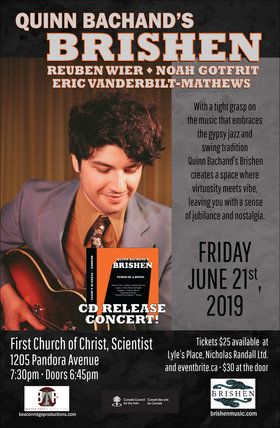 CD Release Show: Quinn Bachand's Brishen @ First Church of Christ Scientist Jun 21 2019 - May 21st @ First Church of Christ Scientist