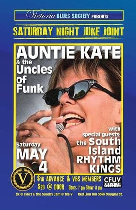Saturday Night Juke Joint: Auntie Kate & the Uncles of Funk, The South Island Rhythm Kings @ V-lounge May 4 2019 - Aug 21st @ V-lounge