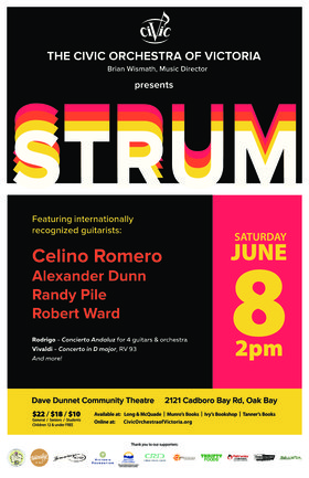 Strum! Classical Guitar and Orchestra: The Civic Orchestra of Victoria, Celino Romero , Alexander Dunn, Randy Pile, Robert Ward @ Dave Dunnet Theatre Jun 8 2019 - Jun 19th @ Dave Dunnet Theatre