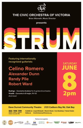 Strum! Classical Guitar and Orchestra: The Civic Orchestra of Victoria, Celino Romero , Alexander Dunn, Randy Pile, Robert Ward @ Dave Dunnet Theatre Jun 8 2019 - May 21st @ Dave Dunnet Theatre