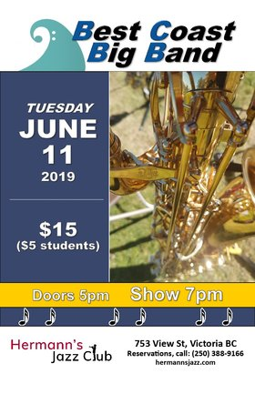 Best Coast Big Band @ Hermann's Jazz Club Jun 1 2019 - Jun 16th @ Hermann's Jazz Club