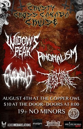 Widowspeak, Anomalism, Evilosity, Terminal Sequence @ Copper Owl Aug 4 2019 - Aug 25th @ Copper Owl