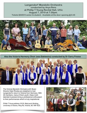 Langendorf Mandolin Orchestra: Victoria Harmony Choir (was Edelweiss), Victoria Mandolin Orchestra @ Phillip T. Young Recital Hall (Uvic) Aug 7 2019 - Sep 19th @ Phillip T. Young Recital Hall (Uvic)