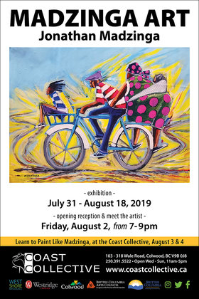 Paint Like Madzinga! with Madzinga @ Coast Collective Art Centre Aug 3 2019 - Sep 22nd @ Coast Collective Art Centre