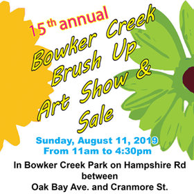 Bowker Creek Brush Up Art Show & Sale: Robert Amos, Peter Baxter, Audry Campsall, Margaret Case , Gen Chandler, Claire Christinel , Arlene Davey , Joan Easton, Ashley Hamilton, Caroline Hunter , Donna Ion, Susan Leather, Vivian Lockridge, Victor Lotto  , Joanie McCorry, Avic Rasmussen, Paul Redchurch, Gera Scott Chandler, Joan Turner , Pam Stonehouse , Erik Thorn, FLO-ELLE WATSON, Graham Thompson, Pat Martin-Bates, Wayne Anaka, Heather-Elayne Day, Suzanne Heron, Helen Jaques, Laurie McAmmond, Tony Mochizaki, Linda Rajotte, Shirley Richardson, Virginia Ronning, Arden Rose, Dallas Segno, Brian Simmons, Jo Vipond @ Bowker Creek Park, Oak Bay Aug 11 2019 - Aug 22nd @ Bowker Creek Park, Oak Bay