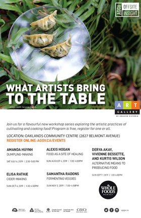What Artists Bring to the Table: Derya Akay, Vivienne Bessette, Kurtis Wilson @ Oaklands Community Association Sep 1 2019 - Oct 13th @ Oaklands Community Association