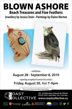 Blown Ashore: Beach Treasures and Fine Feathers: Elaine Morton , Jessica Stein @ Coast Collective Art Centre Aug 28 2019 - Sep 15th @ Coast Collective Art Centre