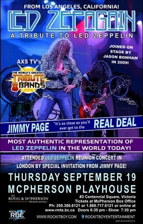Tribute To Led Zepplin: Led Zepagain @ McPherson Playhouse Sep 19 2019 - Aug 22nd @ McPherson Playhouse