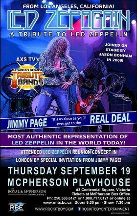 Tribute To Led Zepplin: Led Zepagain @ McPherson Playhouse Sep 19 2019 - Aug 23rd @ McPherson Playhouse