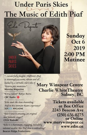 Under Paris Skies: La Musique d'Edith Piaf: Edie DaPonte, Jonathan Eng, Joey Smith, Aaron Watson, Karel Roessingh @ The Mary Winspear Centre Oct 6 2019 - Sep 15th @ The Mary Winspear Centre