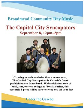 Broadmead Community Day: Capital City Syncopators @ Broadmead Village Shopping Centre Sep 8 2019 - Oct 13th @ Broadmead Village Shopping Centre