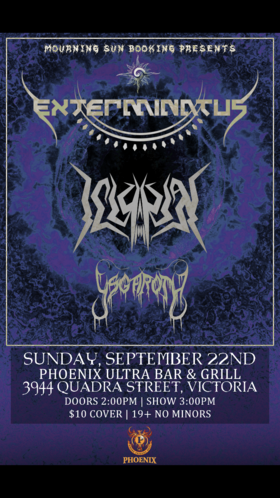 Mourning sun booking presents.....: Evilosity, Ysgaroth, Exterminatus @ The Phoenix Bar and Grill Sep 22 2019 - Oct 13th @ The Phoenix Bar and Grill