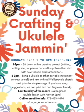 Ukelele Jam @ Gorge-ous Coffee Sep 15 2019 - Oct 13th @ Gorge-ous Coffee