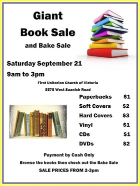 First Unitarian Church of Victoria Used Book Sale @ First Unitarian Church of Victoria Sep 21 2019 - Oct 13th @ First Unitarian Church of Victoria