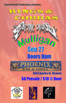 Kings and Cobras, Electric Druids, Mulligan @ The Phoenix Bar and Grill Sep 27 2019 - Oct 13th @ The Phoenix Bar and Grill