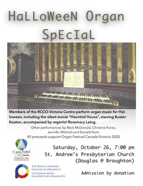 Halloween Organ Special: Rosemary Laing, Jennifer Mitchell, Mark McDonald, Christine Purvis, Donald Hunt @ St. Andrews Presbyterian Church Oct 26 2019 - Oct 14th @ St. Andrews Presbyterian Church