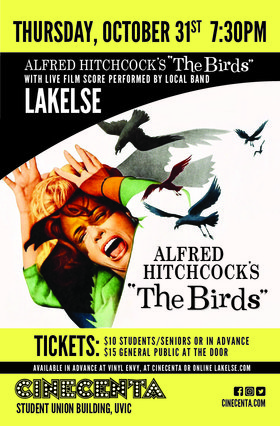 The Birds Halloween Live Score featuring Lakelse: Lakelse @ Cinecenta Theatre Uvic Oct 31 2019 - Oct 14th @ Cinecenta Theatre Uvic