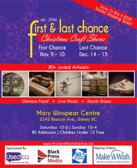 First & Last Chance Christmas Craft Show @ Mary Winspear Centre, 2243 Beacon Avenue, Nov 9 2019 - Oct 22nd @ Mary Winspear Centre, 2243 Beacon Avenue,