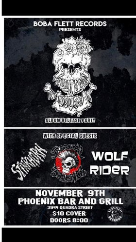 Strategic Abuse Album Release Party: Strategic Abuse, Stinkhorn, Social science, Wolf Rider @ The Phoenix Bar and Grill Nov 9 2019 - Oct 22nd @ The Phoenix Bar and Grill