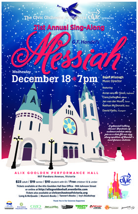 Sing-Along Messiah: The Civic Orchestra of Victoria @ Alix Goolden Performance Hall Dec 18 2019 - Nov 18th @ Alix Goolden Performance Hall