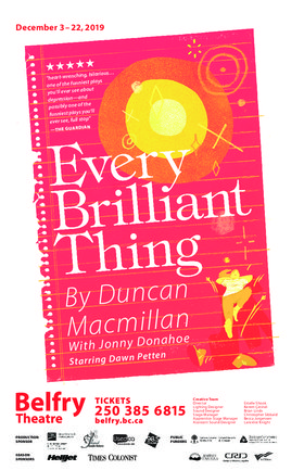 Every Brilliant Thing @ Belfry Theatre Dec 22 2019 - Dec 13th @ Belfry Theatre
