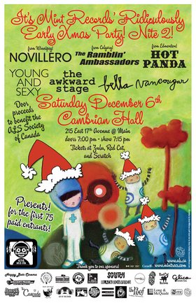 It's Mint's Ridiculously Early Xmas Party! Nite 2!: Novillero, The Ramblin' Ambassadors, Hot Panda, Young & Sexy, The Awkward Stage, Bella, Vancougar @ The Cambrian Hall Dec 6 2008 - Jan 28th @ The Cambrian Hall