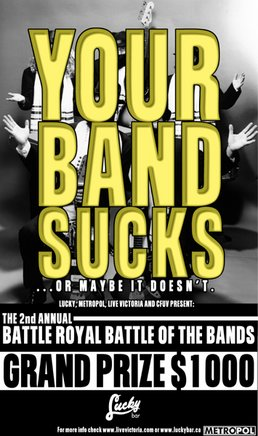 The 2nd Annual Battle Royale! (Night II): the Grey Army, black tie social, JUST, A STELLAR COLLAPSE @ Lucky Bar Nov 9 2004 - Oct 27th @ Lucky Bar
