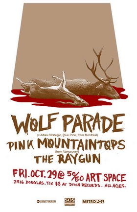 SOS Productions presents: Wolf Parade, Pink Mountaintops, The Raygun - Oct 20th @ the fifty fifty arts collective