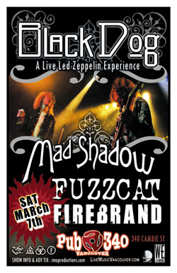 BLACK DOG Led Zeppelin Tribute & MAD SHADOW Tour Kick Off Party: BLACK DOG, Mad Shadow, Fuzzcat, Firebrand @ Pub 340 Mar 7 2009 - Jun 1st @ Pub 340