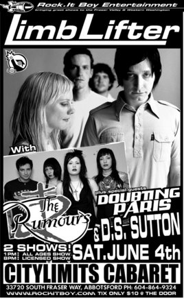 2 shows with Limblifter in Abbotsford: Limblifter, The Rumours, DoubtingParis, DS Sutton @ City Limits Cabaret Jun 4 2005 - Oct 31st @ City Limits Cabaret