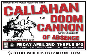 Pub 340 Rock Series: Callahan, Doom Cannon, Of Absence @ Pub 340 Apr 2 2010 - Sep 27th @ Pub 340