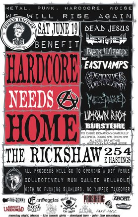 HARDCORE NEEDS A HOME...: Dead Jesus, West of Hell, Black Wizard, East Vamps, Dead River Wasteland, Malice Plagued, UPTOwN RiOT, BURSTFIRE @ Rickshaw Theatre Jun 19 2010 - Aug 17th @ Rickshaw Theatre